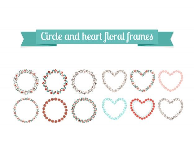Kleurrijke cirkel en hart bloemenkaders