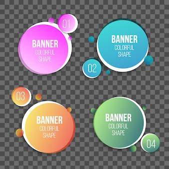 Kleurrijke cirkel tekstvakken vorm, ronde banners.