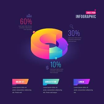 Kleurrijke cirkelgrafiek met infographic details