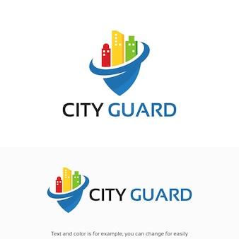 Kleurrijke city security, city guard-symbool voor logo-ontwerpen