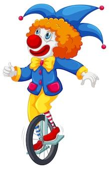 Kleurrijke clown die een unicycle berijdt