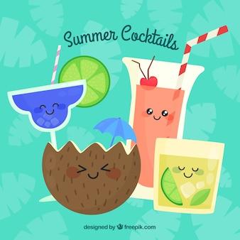 Kleurrijke cocktail collectie met platte ontwerp
