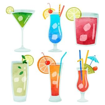 Kleurrijke cocktaildrankjes met verschillende gevormde glazen illustratieset