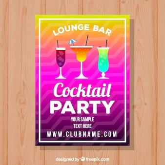 Kleurrijke cocktailparty brochure