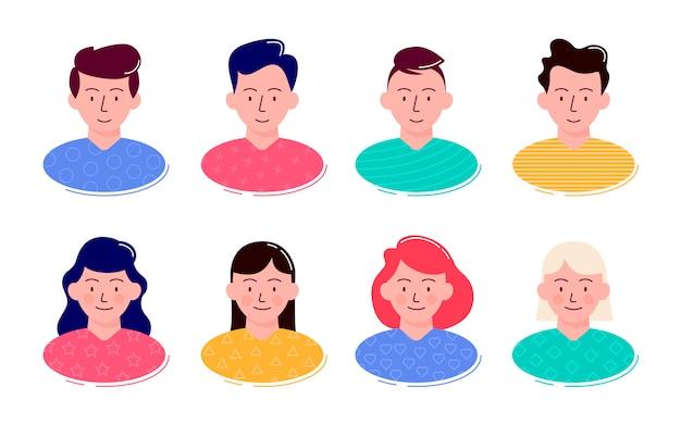 Kleurrijke collectie met een grote verscheidenheid aan avatars Premium Vector