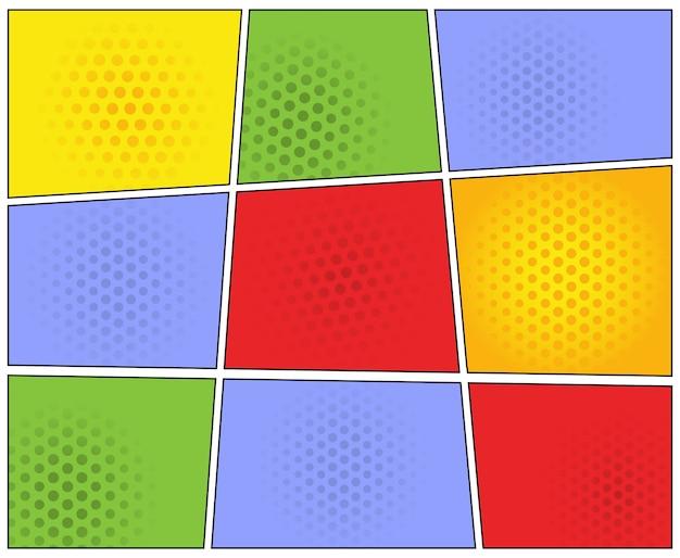 Kleurrijke comic book page layout template f