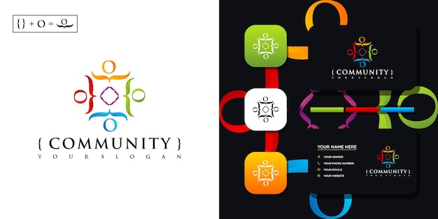 Kleurrijke community logo sjabloon en visitekaartje referentie.