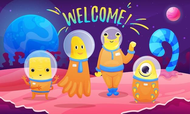 Kleurrijke compositie met fantasierood planeetlandschap en buitenaardse wezens die aardbewoners uitnodigen om hun planeetcartoon te bezoeken