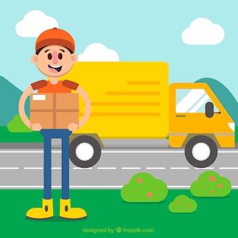 Kleurrijke compostie met deliveryman en vrachtwagen