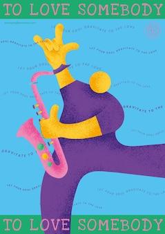 Kleurrijke concert poster sjabloon met saxofonist muzikant platte afbeelding