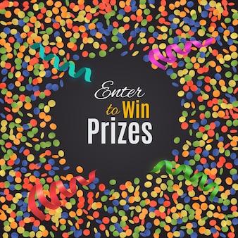 Kleurrijke confetti achtergrond met ronde plaat.