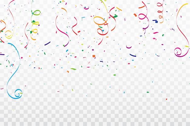 Kleurrijke confetti celebration carnaval linten.