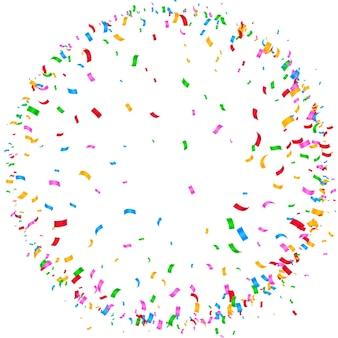 Kleurrijke confetti circulaire burst frame achtergrond