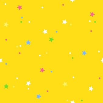 Kleurrijke confetti op een gele achtergrond. vector naadloos patroon