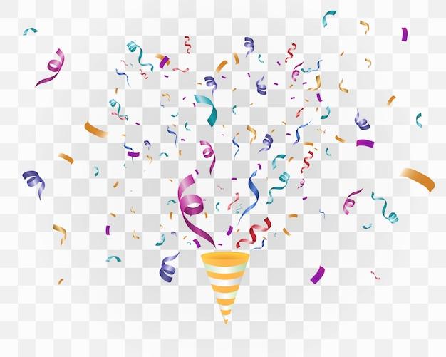 Kleurrijke confetti op een witte achtergrond. feestelijke vrolijke achtergrond. kegel met confetti.