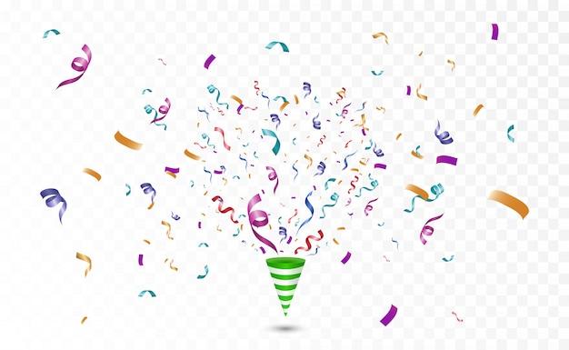 Kleurrijke confetti op een witte achtergrond. feestelijke vrolijke vector achtergrond. kegel met confetti.