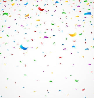 Kleurrijke confetti op witte achtergrond