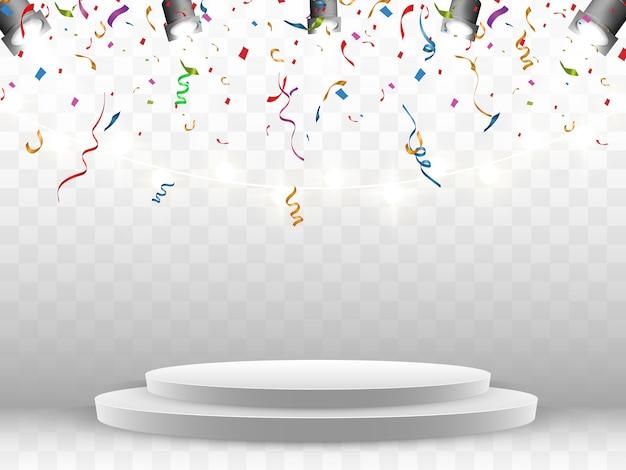 Kleurrijke confetti vallen op het podium. realistisch wit podium met schijnwerpers. eerste plaats. illustratie van een vakantie.