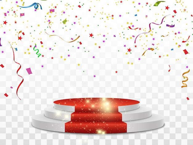 Kleurrijke confetti verspreid. confetti valt op een podium met een lichteffect.