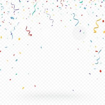 Kleurrijke confetti-vieringen ontwerp geïsoleerd op transparante achtergrond