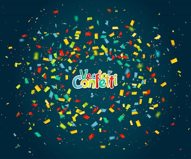 Kleurrijke confetti willekeurig vliegen op blauwe achtergrond