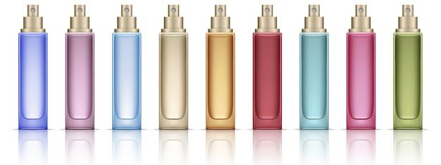 Kleurrijke cosmetische flessen instellen