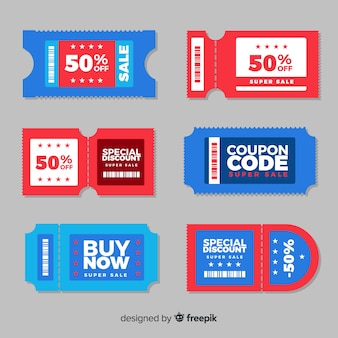 Kleurrijke coupon sjabloon met platte ontwerp