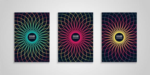Kleurrijke cover set met abstracte bloem