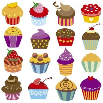 Kleurrijke cupcakes collectie