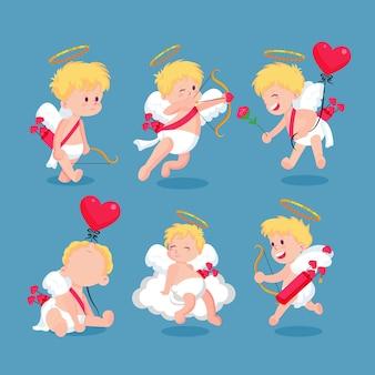 Kleurrijke cupid-tekencollectie