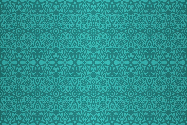 Kleurrijke cyaan achtergrond met abstract naadloze bloemmotief