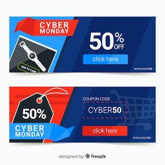 Kleurrijke cyber maandag banners met platte ontwerp