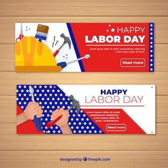 Kleurrijke dag van de arbeid banners met platte ontwerp