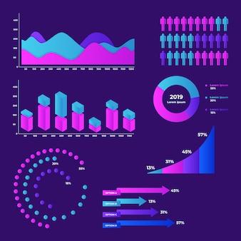 Kleurrijke dashboard element collectie