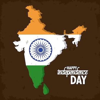 Kleurrijke de onafhankelijkheidskaart van india
