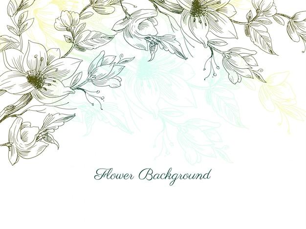 Kleurrijke decoratieve hand getrokken bloem ontwerp achtergrond