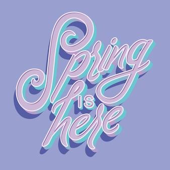 Kleurrijke decoratieve handgeschreven typografie met lente is hier tekst.