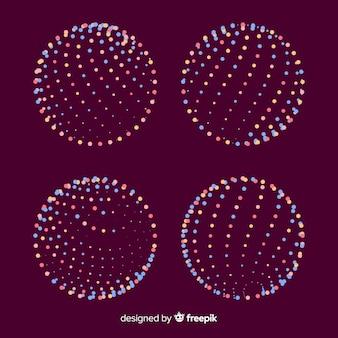 Kleurrijke deeltjes 3d geometrische vormeninzameling