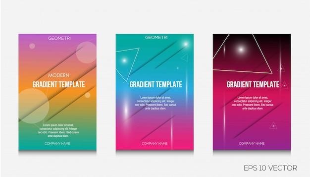 Kleurrijke dekking sjabloon ontwerp illustratie set