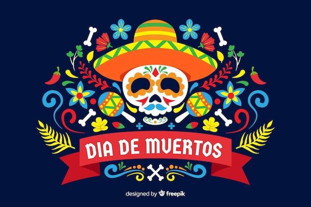 Kleurrijke dia de muertos achtergrond in plat ontwerp