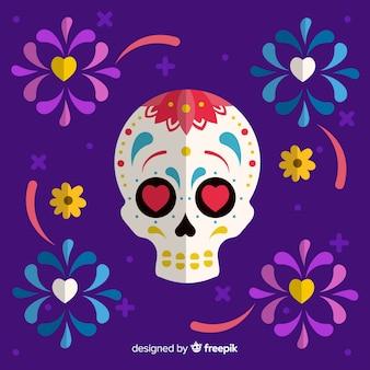 Kleurrijke día de muertos met mexicaanse schedelachtergrond in vlak ontwerp