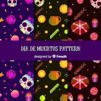 Kleurrijke día de muertos patrooncollectie met plat ontwerp