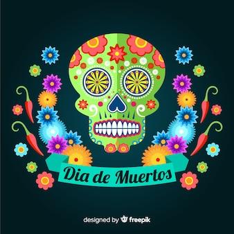 Kleurrijke dia de muertos schedel achtergrond