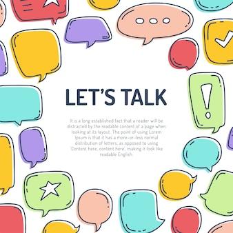 Kleurrijke dialoog tekstballonnen en tekst laten we praten