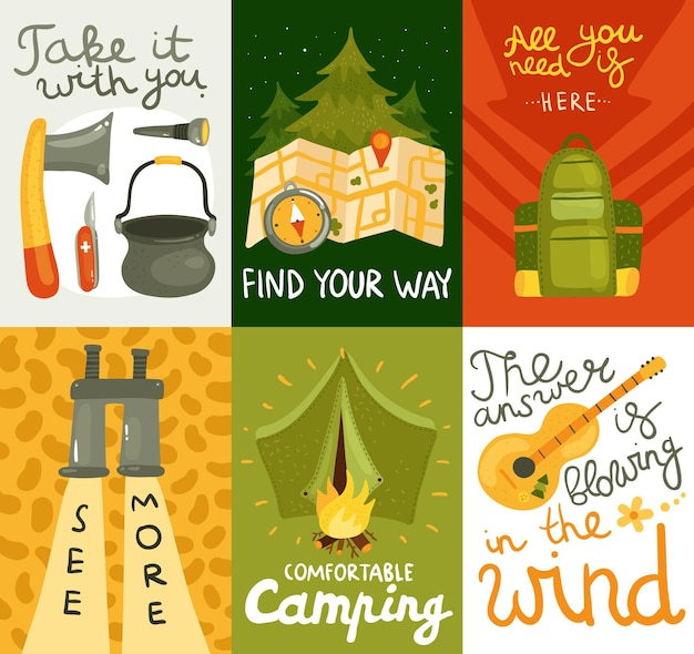 Kleurrijke die kaarten met materiaal voor comfortabel kamperen op kleurrijke vlakke geïsoleerde vectorillustratie worden geplaatst als achtergrond