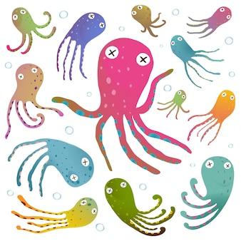 Kleurrijke die octopus op witte beeldverhaalillustratie wordt geïsoleerd