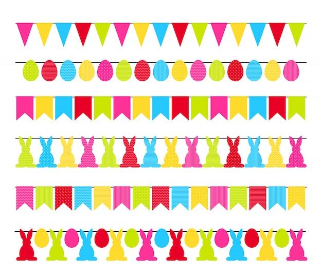 Kleurrijke die pasen-slingervlaggen op wit worden geïsoleerd