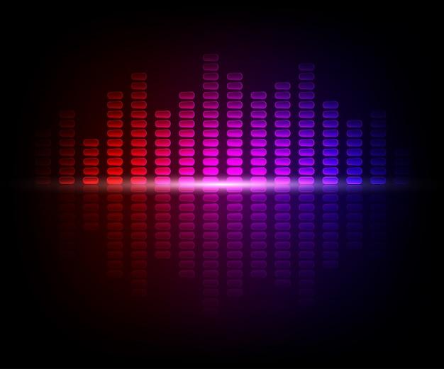 Kleurrijke digitale glanzende equalizer. vectorillustratie met lichteffecten op donkere achtergrond