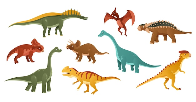 Kleurrijke dinosaurussen cartoon karakter illustratie