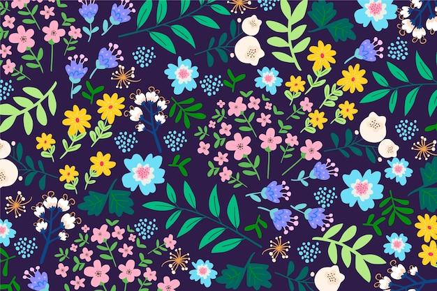 Kleurrijke ditsy bloemenpatroonachtergrond